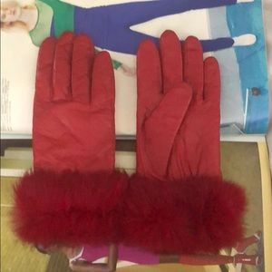 Accessories - Women's Red Learher Gloves
